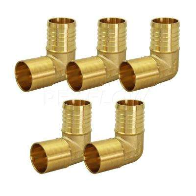 3/4 in. Brass Female Sweat x 5/8 in. Pex Barb 90-Degree Elbow Pipe Fitting (5-Pack)