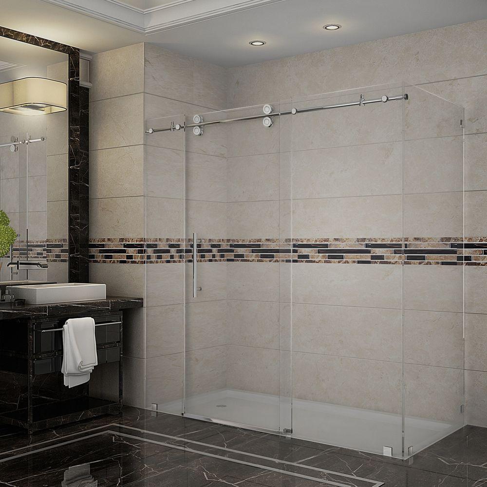 Langham 72 in. x 33.8125 in. x 75 in. Completely Frameless Sliding Shower Enclosure in Chrome
