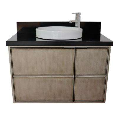 Scandi 37 in. W x 22 in. D Wall Mount Bath Vanity in Brown with Granite Vanity Top in Black with White Round Basin