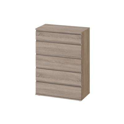 Aurora 5-Drawer Truffle Wide Chest of Drawers (41.97 in. H x 30.24 in. W x 15.75 in. D)