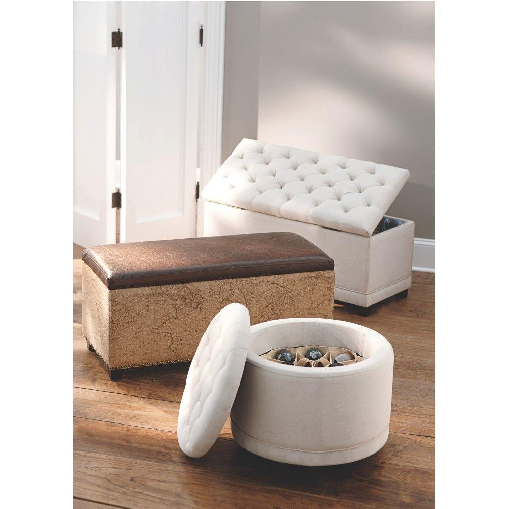 Home Decorators Collection Chambers Solid Tufted Canvas Round Shoe Ottoman in Ivory