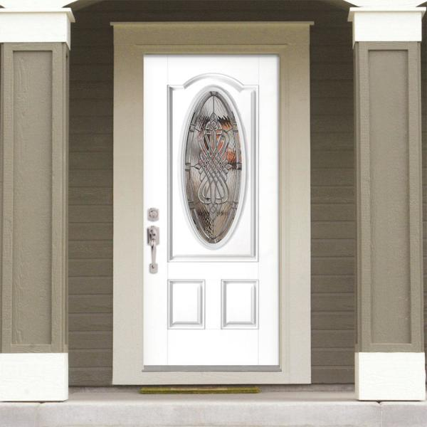 Masonite 36 In X 80 In New Haven 3 4 Oval Lite Left Hand Inswing Painted Steel Prehung Front Exterior Door With Brickmold 28244 The Home Depot