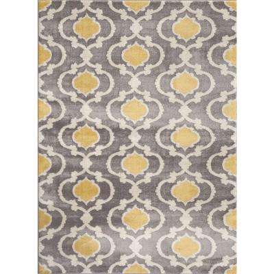 Moroccan Trellis Contemporary Gray/Yellow 3 ft. 3 in. x 5 ft. Indoor Area Rug