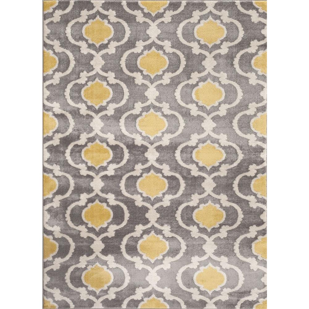 Moroccan Trellis Contemporary Gray Yellow 3 Ft X 5 Indoor Area Rug