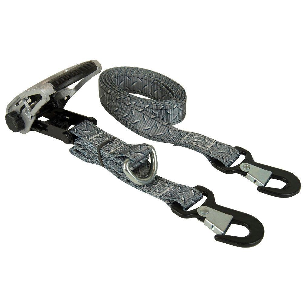 Keeper 1.25 in. x 8 ft. Diamond Plate Ratchet Tie Down (2-Pack)
