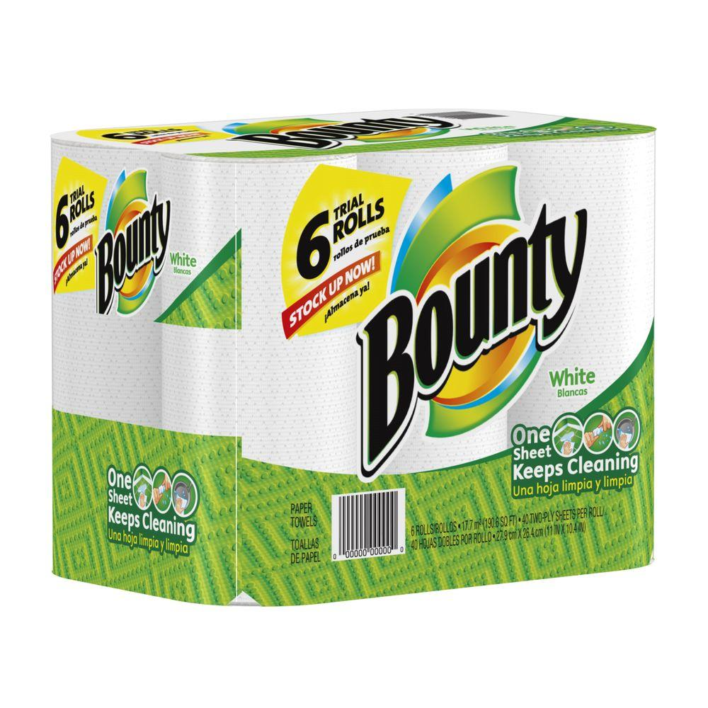 bounty paper towels bounty white paper towels 6 rolls 003700028572 the 31051