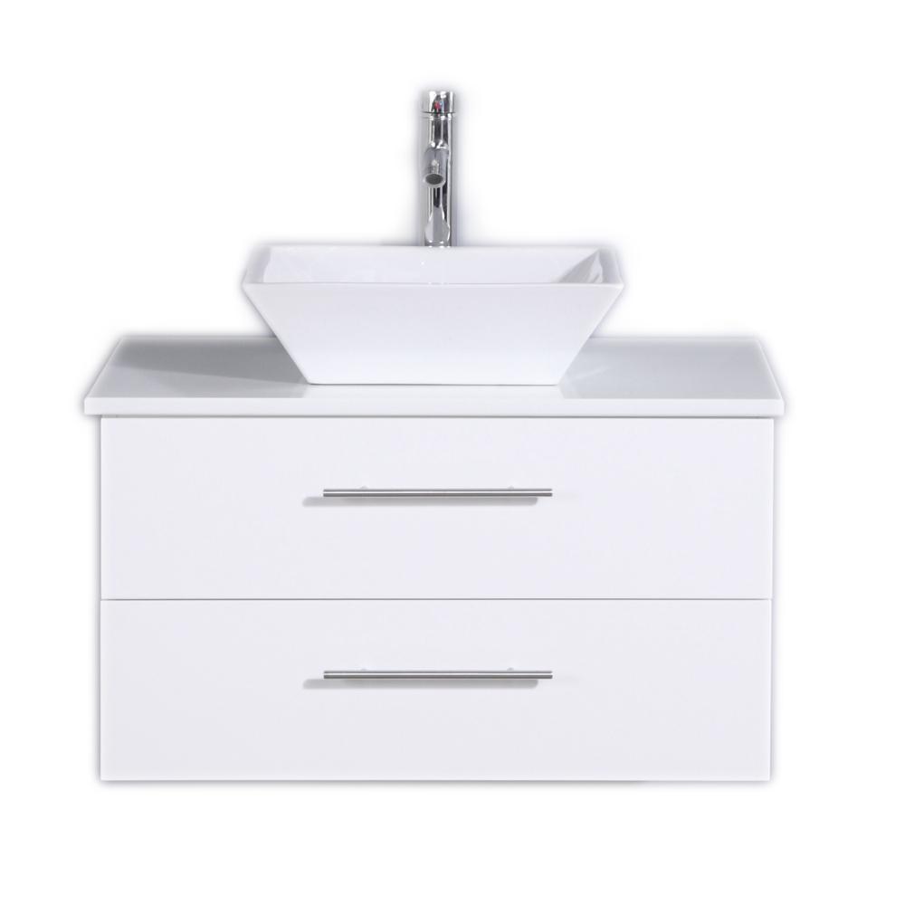 Eviva Totti Wave 30 in. W x 21 in. D x 22 in. H Vanity in White with Glassos Vanity Top in White with White Basin