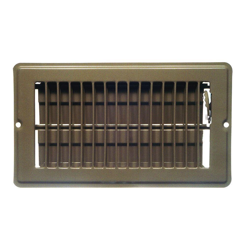 8 in. x 4 in. Steel Return Air Grille Floor Register wtih 7/8 in. Drop