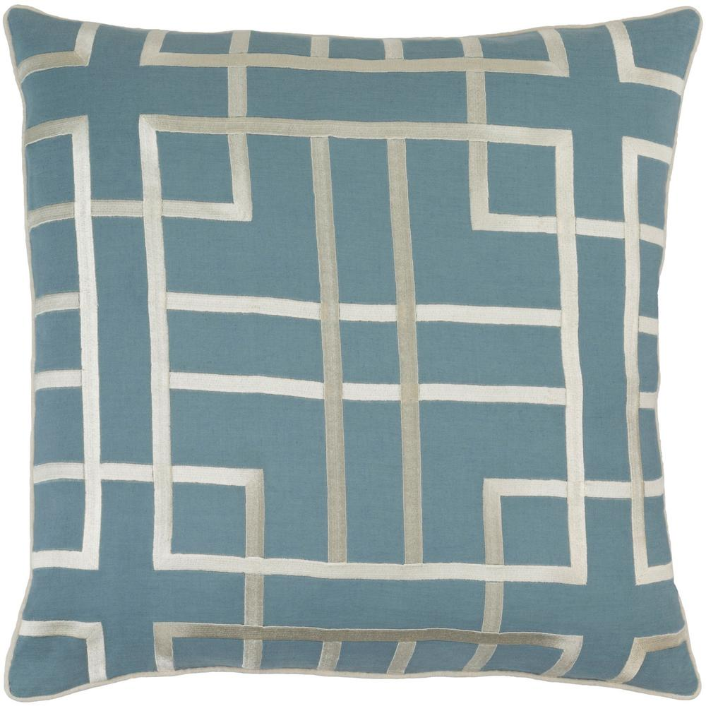 Stenhouse Navy Geometric Polyester 20 in. x 20 in. Throw Pillow