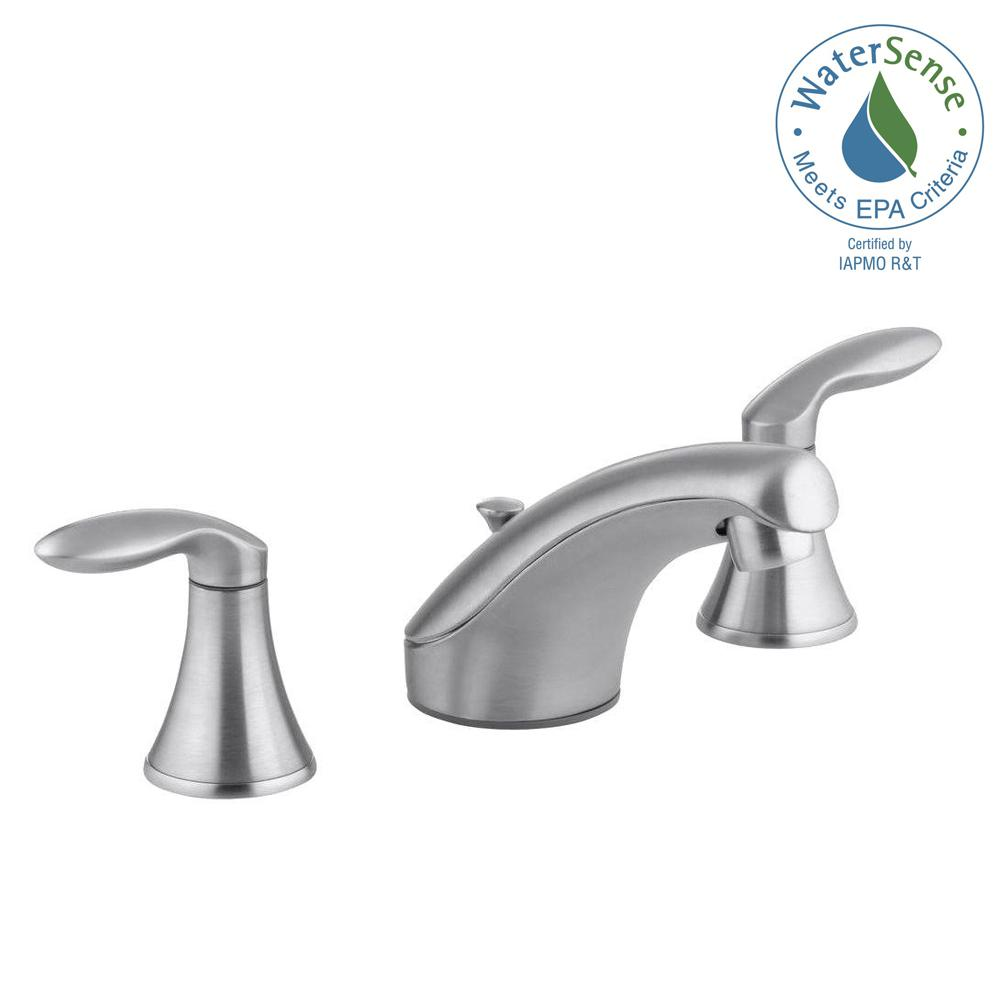 Merveilleux Widespread 2 Handle Low Arc Bathroom Faucet In Brushed