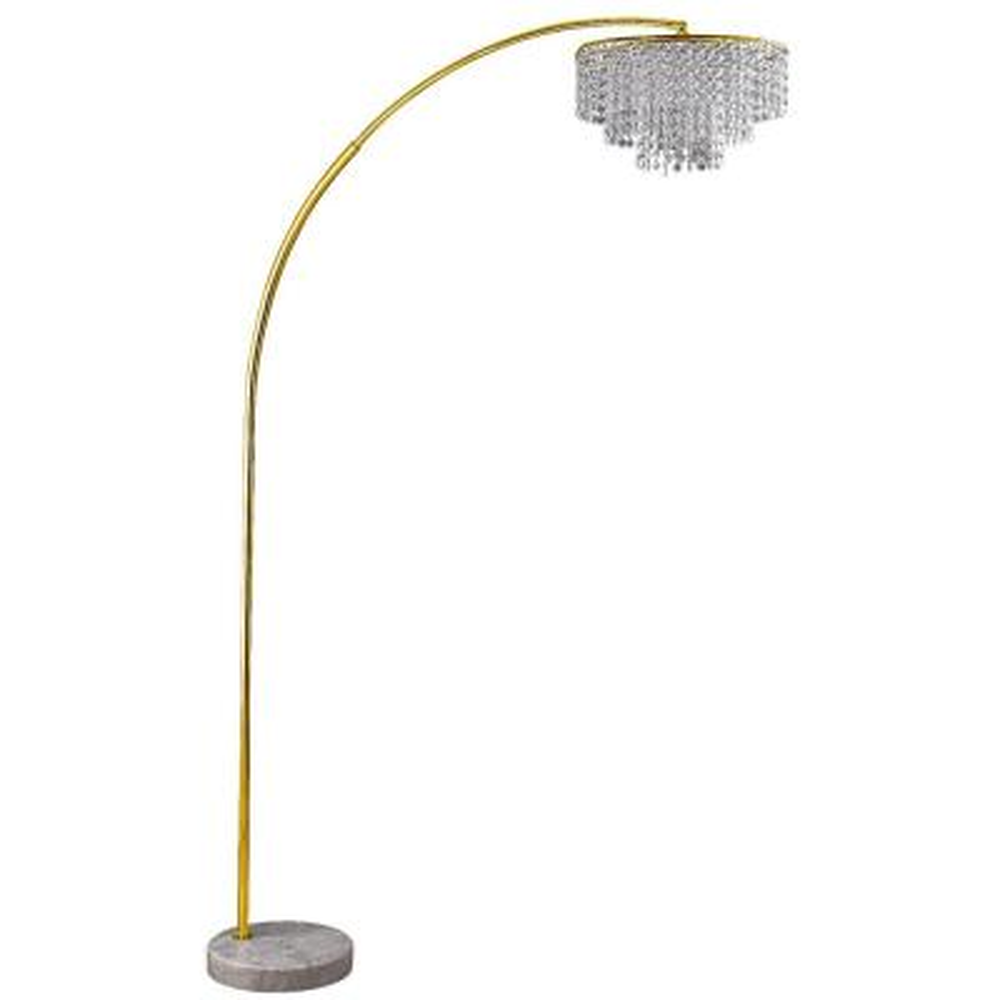 Clos 86 in. Glam Gold 2-Tier Floor Lamp