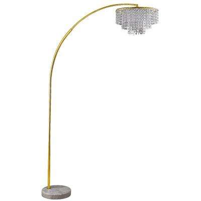 Clos 86 in. Glam Gold 2-Tier Floor Lamp