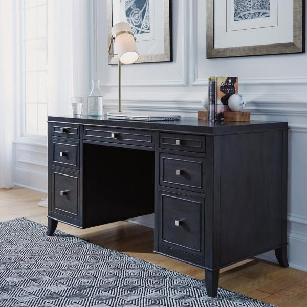 5th Avenue Gray Sable Executive Pedestal Desk By Home Styles