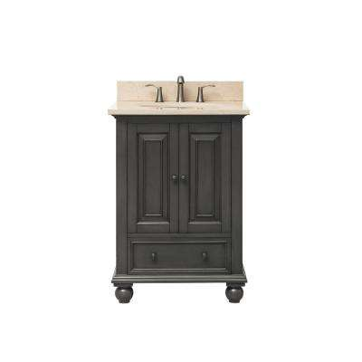 Thompson 25 in. W x 22 in. D x 35 in. H Vanity in Charcoal Glaze with Marble Vanity Top in Galala Beige with White Basin