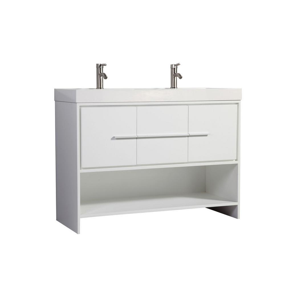 Bergamo 48 in. W x 18 in. D x 36 in. H Double Vanity in White with Acrylic Vanity Top in White with White Basin