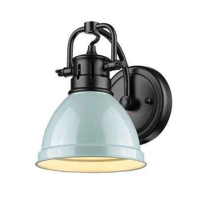 Duncan Collection Black 1-Light Bath Sconce Light with Seafoam Shade
