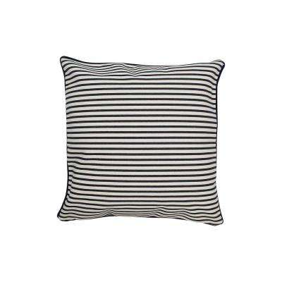 16 in. x 16 in. Navy  Standard Pillow Stripes with Green Eco Friendly Insert