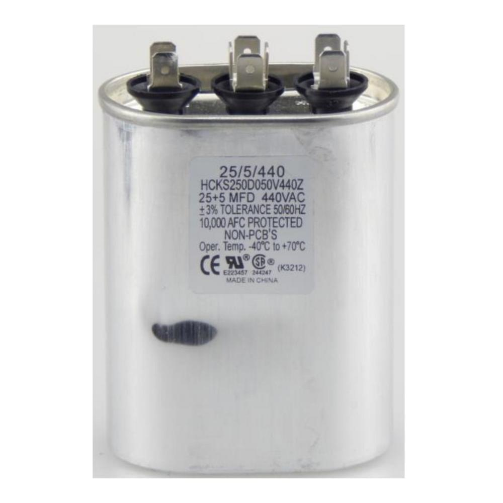 440-Volt 25/5 MFD Dual Rated Motor Run Oval Capacitor