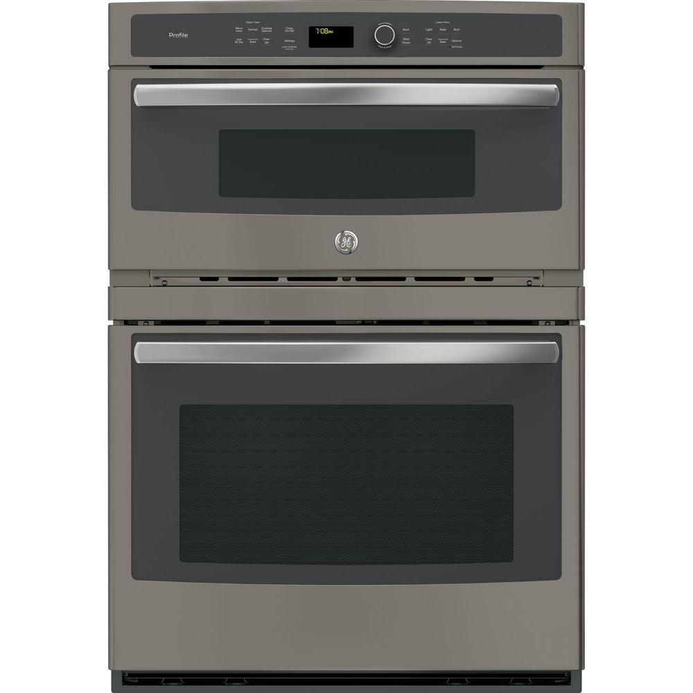 Ge Profile 30 In Electric Built Combination Convection Microwave Wall Oven Slate Fingerprint Resistant Pt7800ekes The Home Depot