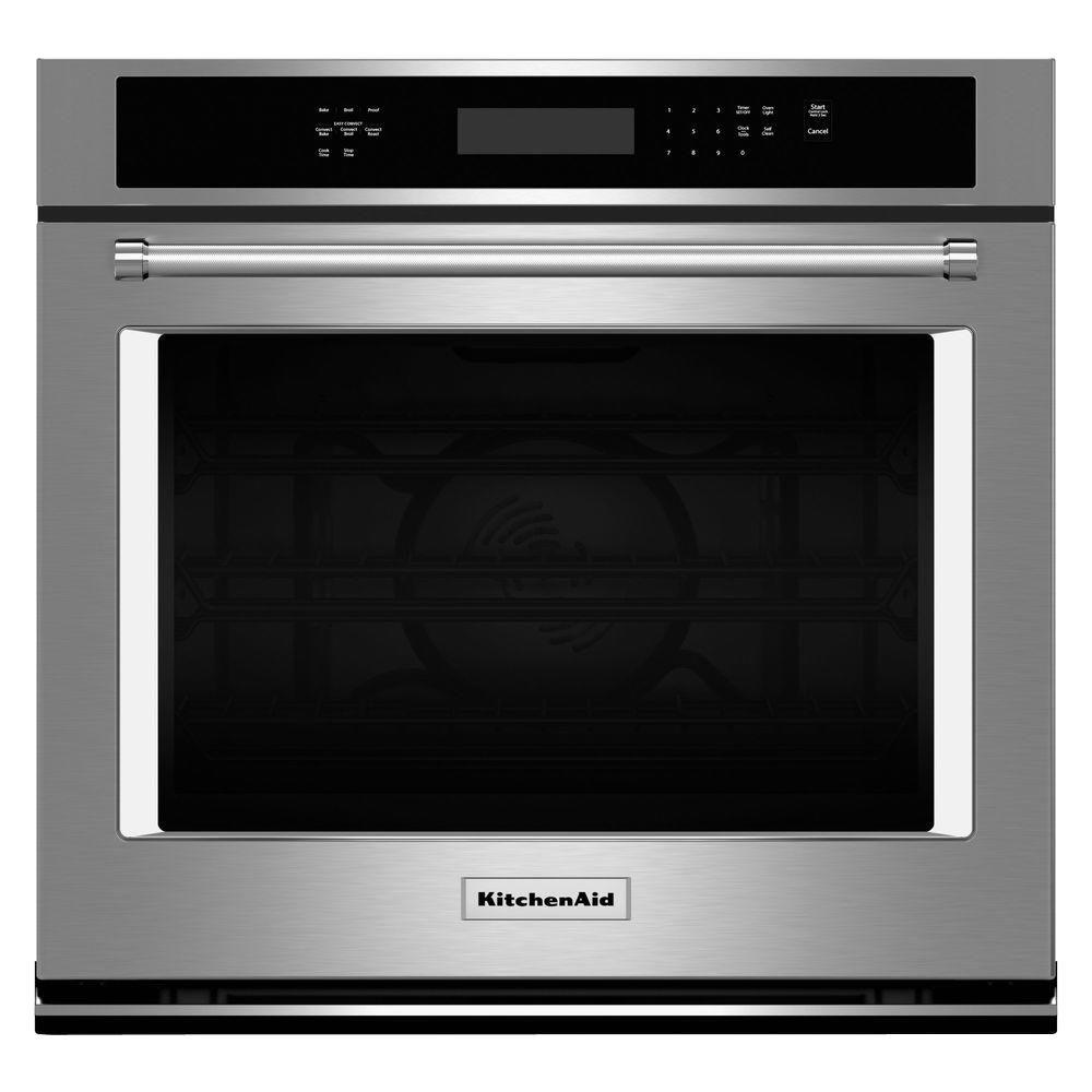 kitchenaid 27 in single electric wall oven self cleaning with