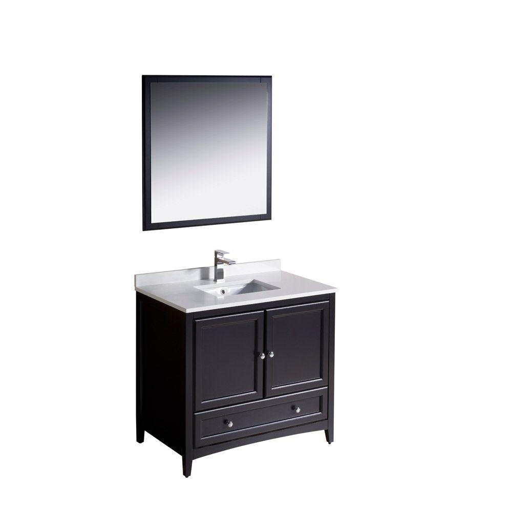 fresca caro 36 in vanity in espresso with cultured marble Bathroom Vanities with Tops Combos Bathroom Vanity 36 Inch High