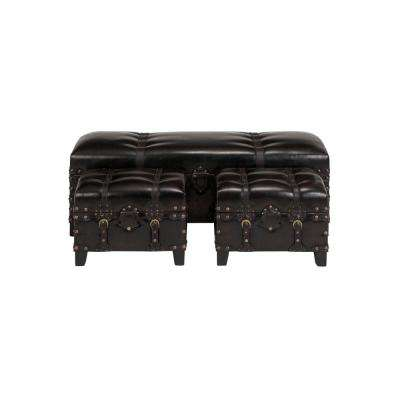 Dark Brown Faux Leather Benches (Set of 3)