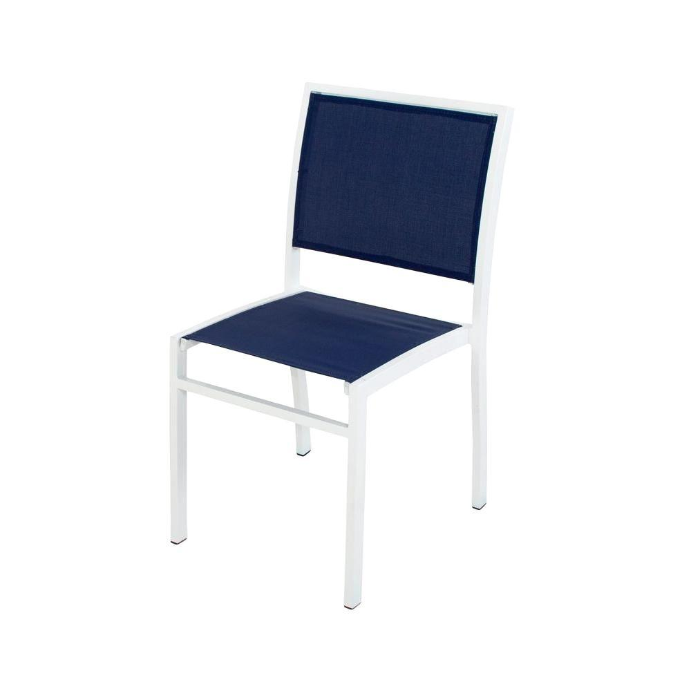 Incredible Polywood Bayline Satin White Navy Blue Sling Patio Dining Side Chair Download Free Architecture Designs Meptaeticmadebymaigaardcom