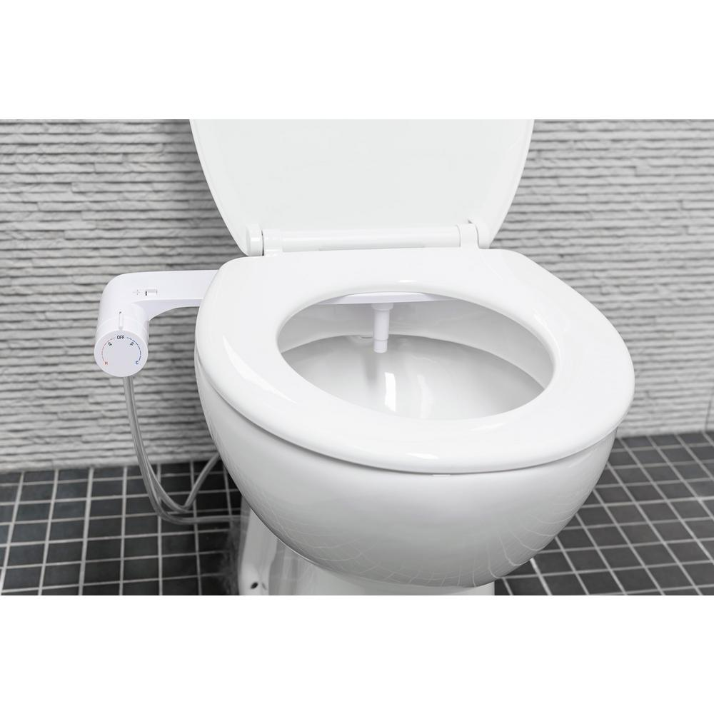 Evekare Non Electric Hot And Cold Water Abs Bidet Attachment With Round Panel In White Evk 0450 Icu The Home Depot