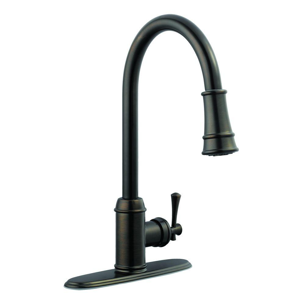 design house ironwood single handle pull out sprayer kitchen faucet in brushed bronze 524728. Black Bedroom Furniture Sets. Home Design Ideas