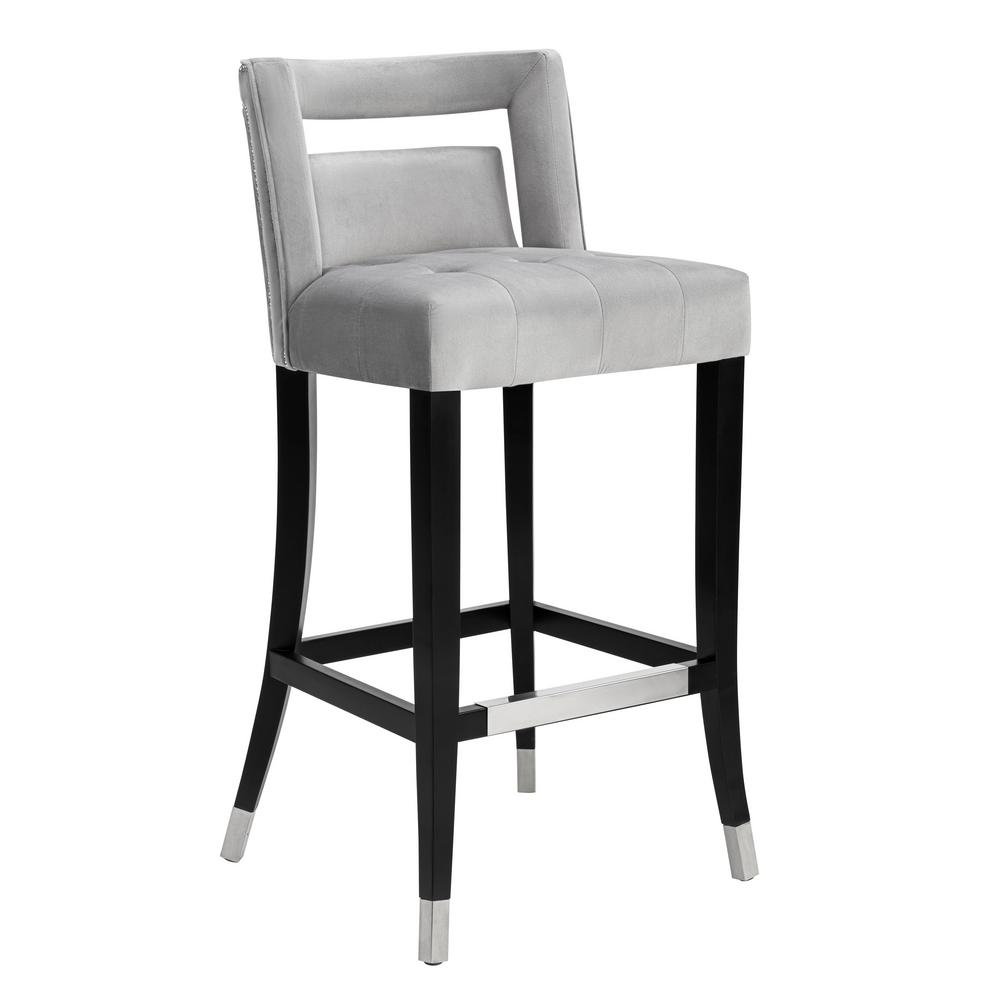 Bon TOV Furniture Hart Grey Velvet Counter Stool