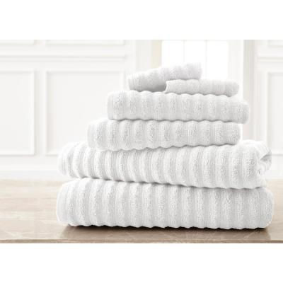 Wavy Luxury Spa Collection 6-Piece White Quick Dry Towel Set