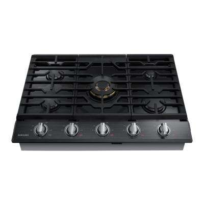 36 in. Gas Cooktop in Black Stainless Steel with 5 Burners including Dual Ring Brass Power Burner