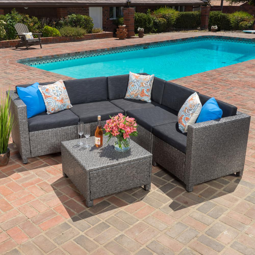 Noble House Puerta Dark Grey 6-Piece Wicker Outdoor Sectional Set with  Black Cushions