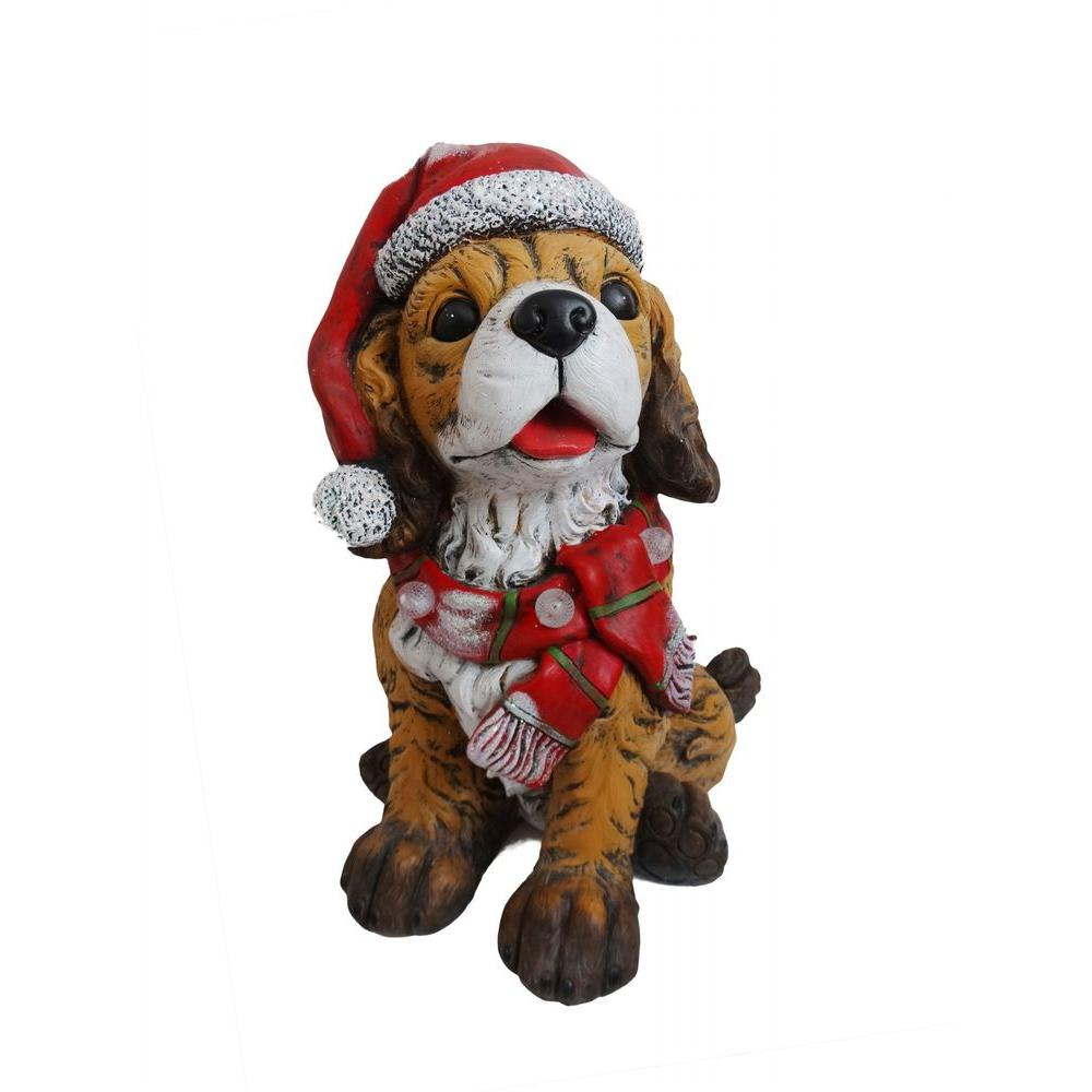 21 in. Dog Wearing Santa Hat and Red Scarf Decor with