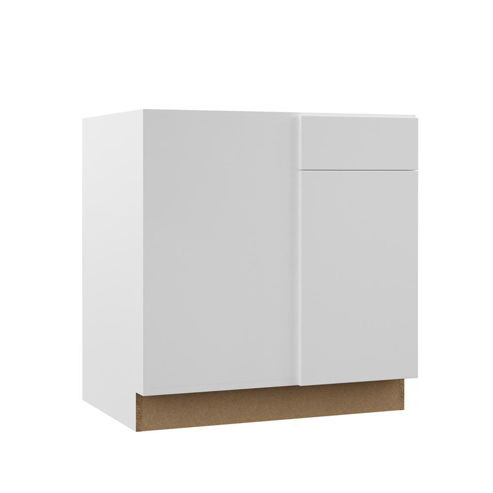Edgeley Assembled 42x34.5x23 in. Blind Corner Base Kitchen Cabinet in White