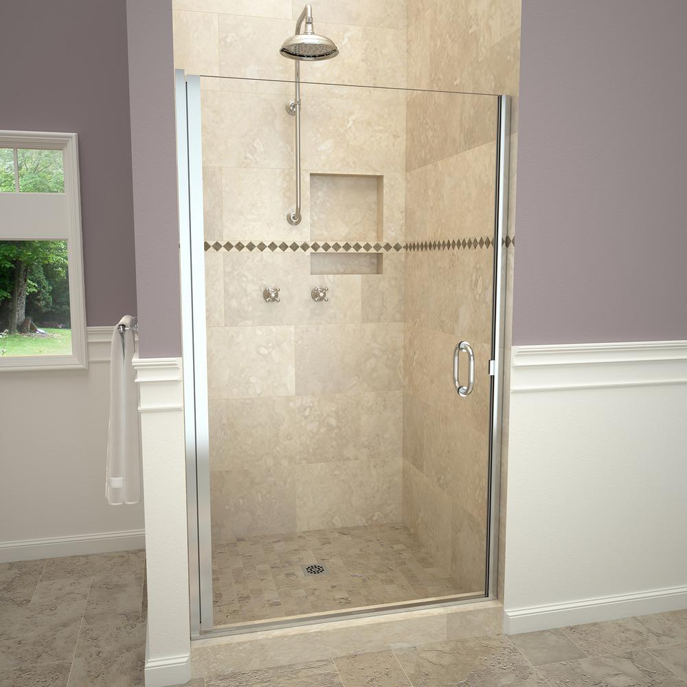 Attirant H Semi Frameless Pivot Shower Door In Polished Chrome With Pull Handle And  Clear Glass