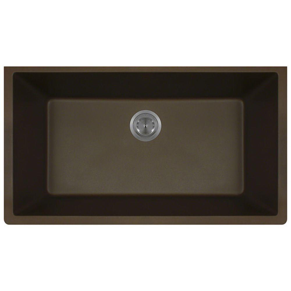 MR Direct Undermount Granite Composite 33 In. Single Bowl Kitchen Sink In  Mocha 848 Mocha   The Home Depot