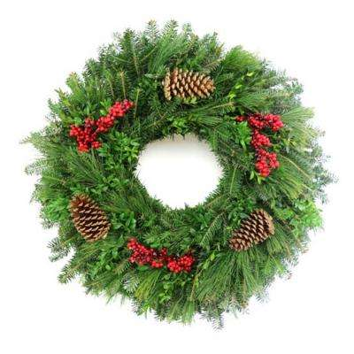 24 in. Fresh Christmas Harvest Fraser Fir Evergreen Wreath (Live)