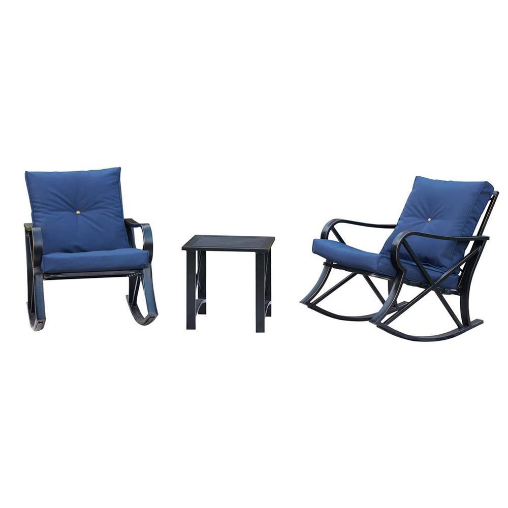 3-Piece Metal Outdoor Bistro Set Patio Conversation Set with Blue Cushions