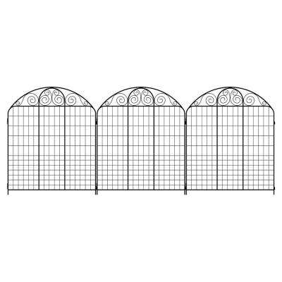 Rockdale 43.8 in. Black Steel Fence Panel (3-Pack)