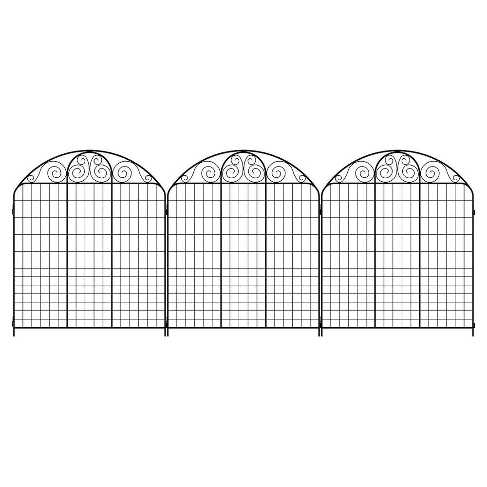 Vigoro Rockdale 43.8 in. Black Steel Fence Panel (3-Pack)