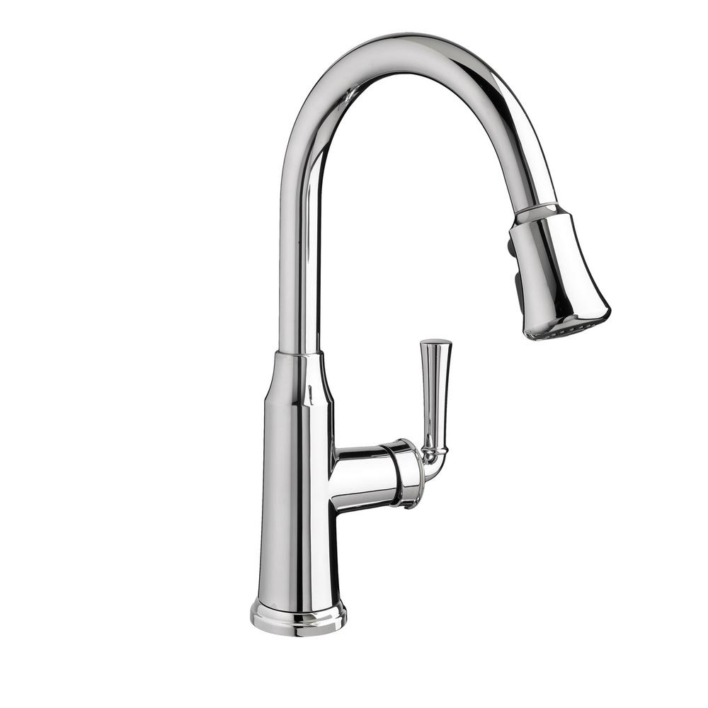 Portsmouth Single-Handle Pull-Down Sprayer Kitchen Faucet in Polished Chrome