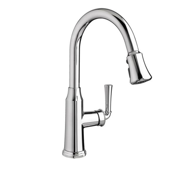 American Standard Portsmouth Single Handle Pull Down Sprayer Kitchen Faucet 1 8 Gpm In Polished Chrome 4285 300 002 The Home Depot