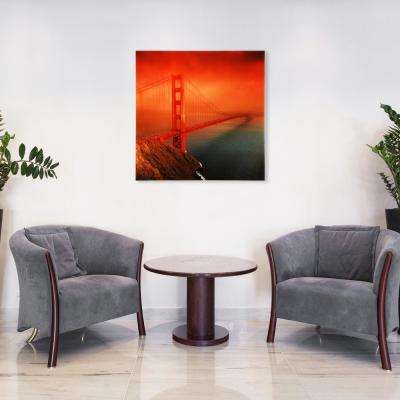 "36 in. x 36 in. ""Golden Gate"" Frameless Free Floating Tempered Glass Panel Graphic Wall Art"