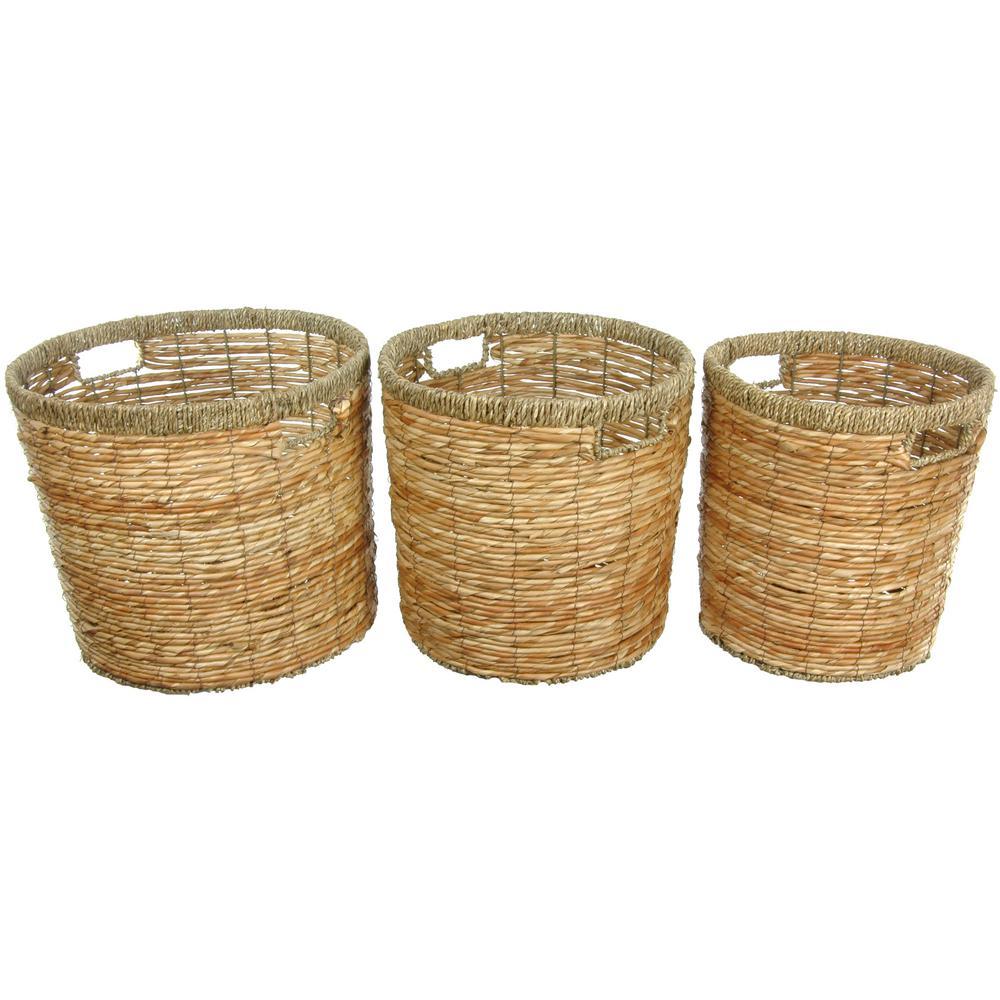 Oriental Furniture 14.25 in. x 12.5 in. Rush Grass Set of Three Round Waste Bins