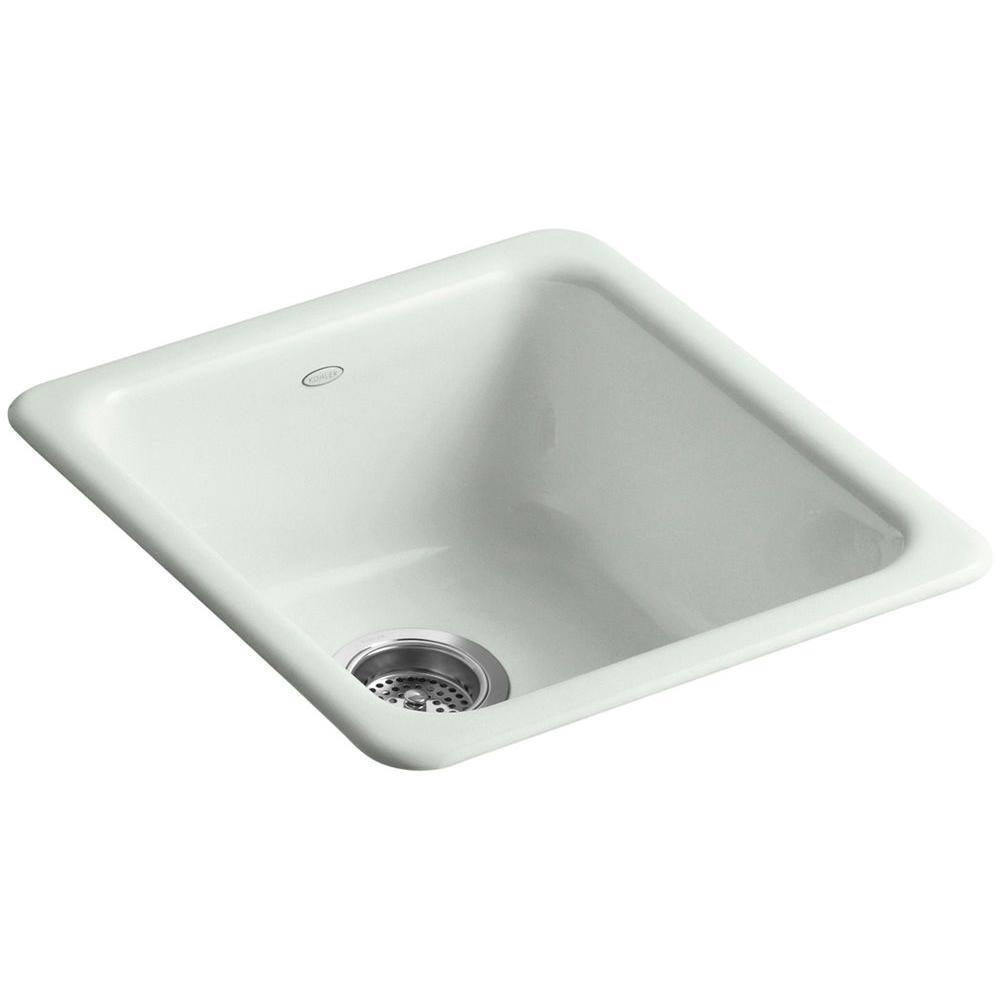 KOHLER Iron/Tones Drop-In/Undermount Cast-Iron 17 in. Single Basin Kitchen Sink in Sea Salt