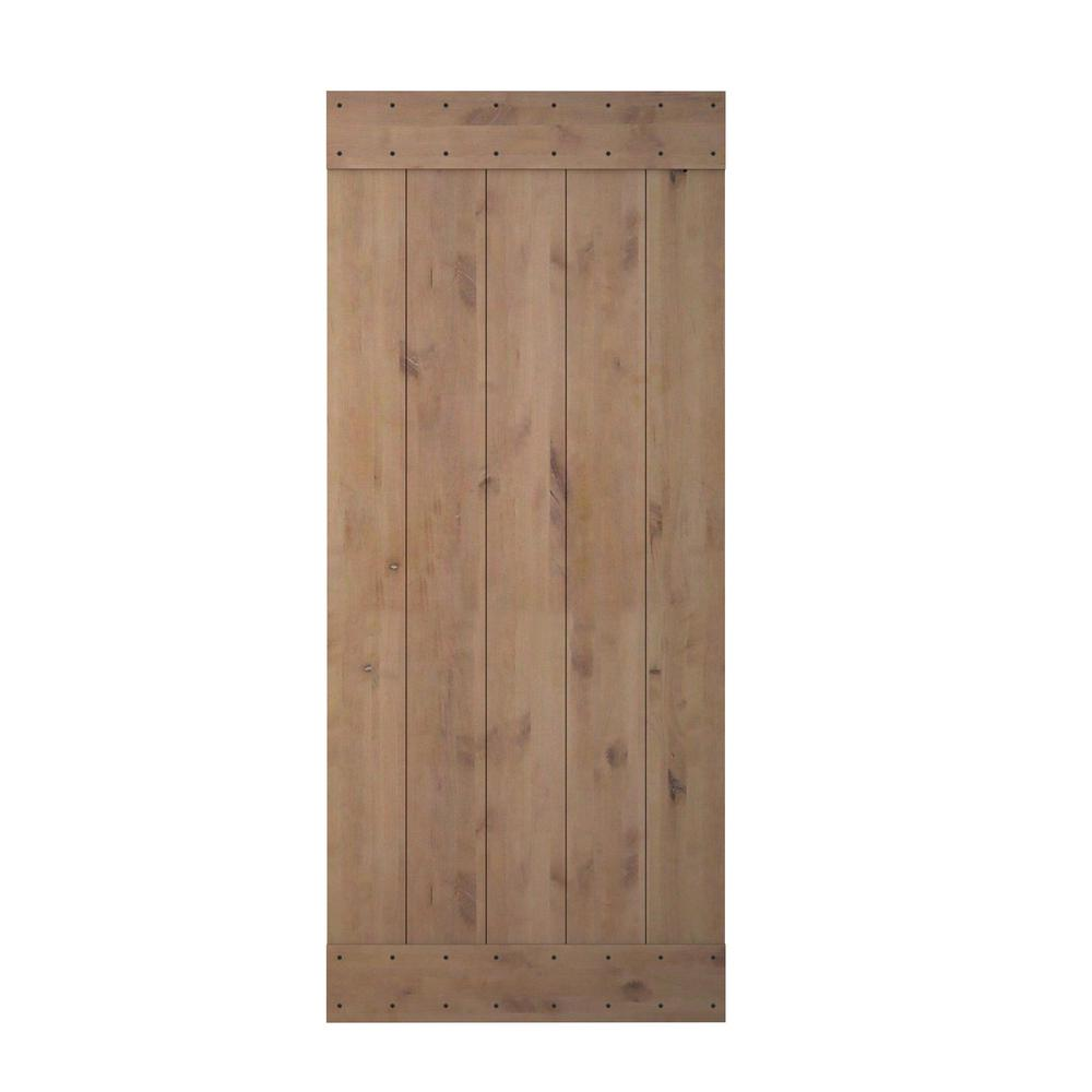 36 in. x 84 in. Vertical Slat Primed Wood Finish Sliding