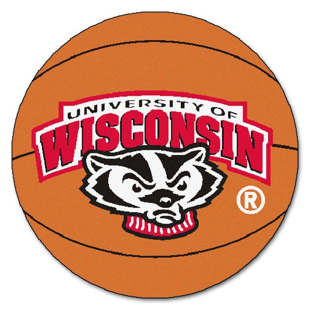 NCAA University of Wisconsin Badger Logo Orange 2 ft. x 2 ft. Round Area Rug
