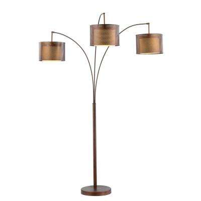 Lumiere II 83 in. LED Antique Bronze Floor Lamp with Double Shade and Dimmer