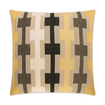 Hopscotch Yellow Geometric Down 24 in. x 24 in. Throw Pillow